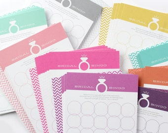 12 Bridal Bingo Cards - Choose Your Color  //  Bridal Shower Game, Party Game, Bridal Shower Activity, Bachelorette Party Game