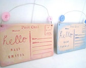 Hello baby Customised- Handmade Ceramic postcard. Made in Wales, UK. Name and date of birth.