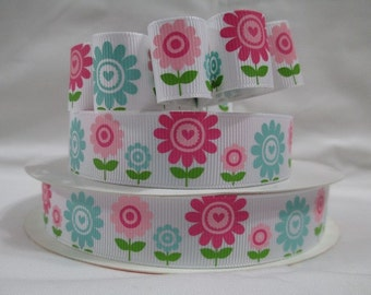 """5 Yds WHOLESALE 7/8"""" Inch Cute Pink, Shocking Pink, and Turquoise Flowers grosgrain ribbon LOW Shipping Cost"""