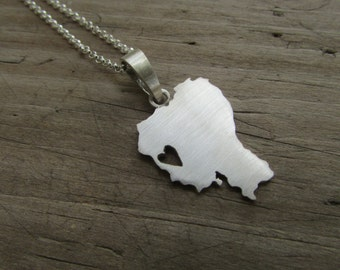 Custom country necklace Custom shape necklace Custom continent necklace Sterling silver country pendant