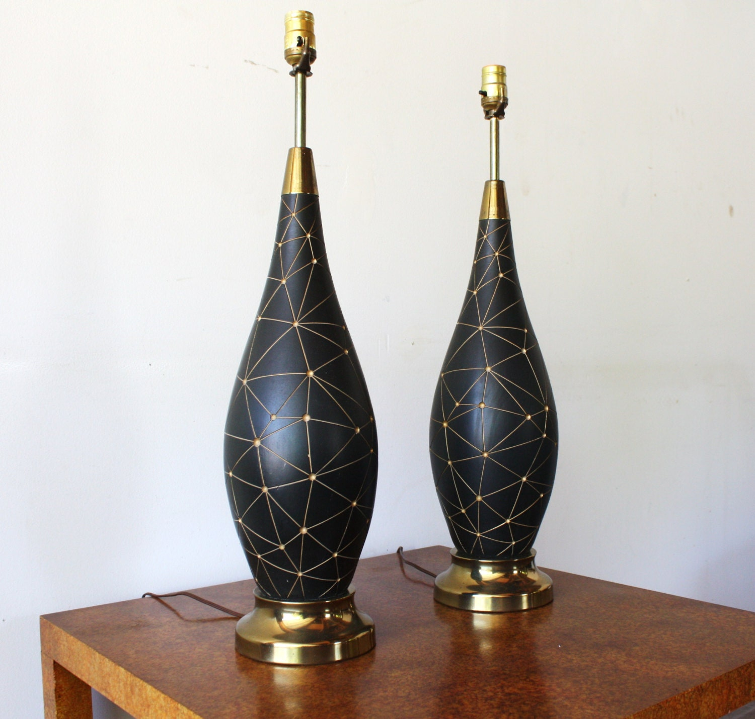 Pair of Vintage Mid Century Modern 1960s Ceramic Table Lamp