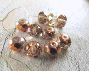 10 Pink Rose Copper Half Tone Czech Glass 6mm x 8mm Faceted Rondelle Jewelry Beads