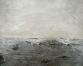 "Giclee art print. ocean art print. beach wall decor. minimalist landscape art. gray wall art print.  ""Breakers"""