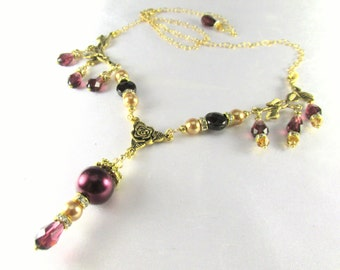 Vintage inspired Bridal or Bridemaid Necklace in Blackberry Burgundy and Light Gold Swarovski Pearls, Crystals, and Faceted Garnet gemstones