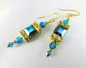 Morian AB Ocean Teal Turquoise Swarovski Square Cube Lantern Earrings on 14k Gold Fill Wires