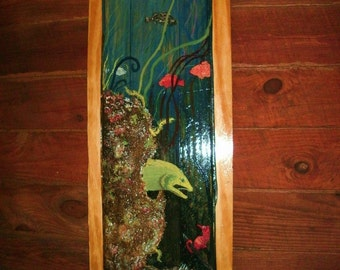 Eel and seahorse coral reef scene 4ft.  painting on reclaimed recycled wood colorful seaside original art coastal home decor
