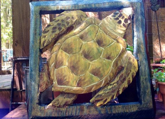 Loggerhead sea turtle chainsaw wooden by