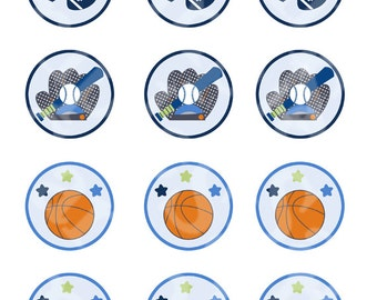"""Printable """"Lil/Little Sports Player/Baseball/Football/Soccer/Basketball"""" Cupcake Toppers/Stickers/Tags Instant Digital Download"""