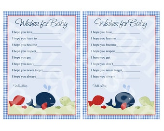 "Printable ""Jackson Whale/Fish"" Wishes for Baby Cards Instant Digital Download"