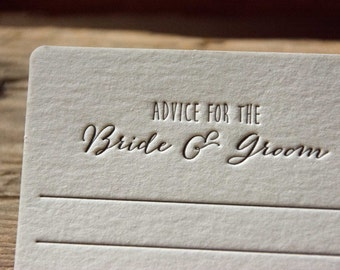 50 square hand drawn style Advice for the BRIDE & GROOM Coasters, (Letterpress printed, 3.5 inch) set of 50