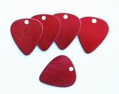 10 Guitar Pick Stamping Tags Anodized Aluminum Red - MT154