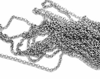 """BULK 32Ft Necklace Chain - Stainless Steel Chain Rollo Style 2.5mm - 1/8"""" - Bulk Chain - FD088"""