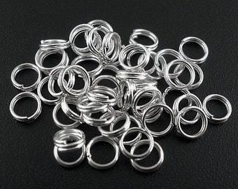 BULK 1000 Split Rings 7MM High Quality Silver Tone - J27