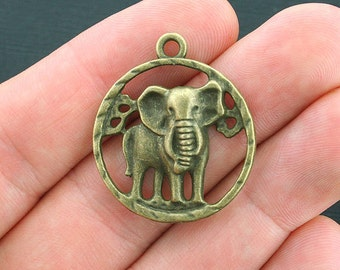 4 Elephant Charms Antique Bronze Tone Larger Sized - BC1113