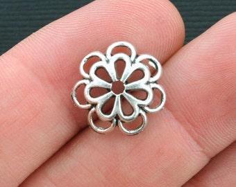 10 Bead Caps Antique Silver Tone Flower Design - SC3996