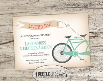 Bicycle Built for Two Printable Save the Date