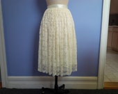 Gathered scalloped edge lace skirt in your choice of color and length custom made
