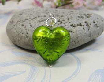 Murano Erba Green Silverfoil Heart Pendant, Venetian Murano Glass Heart Pendant, Silverfoil Heart w Swarovski Crystal & 925 Sterling Silver
