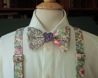 Floral And Lace Bow Tie And Suspender set / Custom Made Pre-tied Bow Tie / Mens Bow Ties / Groom / Groomsmen / Wedding Bow Ties