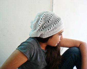 PATTERN Knitted Slouchy Hat, Knit Beanie Pattern, Summer Hat Pattern