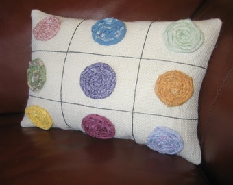 Clearance Nine Hand Rolled Fabric Flowers Springtime Burlap Pillow Pastel Colors by JKB