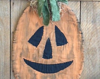 Primitive Halloween Pumpkin Door Greeter Wallhanging