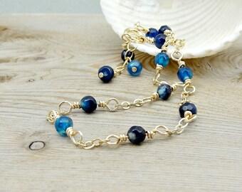 Blue Gemstone Anklet, Gold Anklet, Dainty Gold and Blue Agate Ankle Bracelet