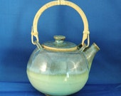 Stoneware Green and Blue 6 cup Large TeaPot
