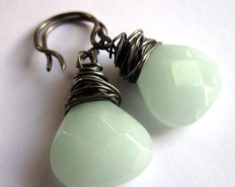 Amazonite Sterling Silver Wire Wrapped Earrings Fashion Jewelry