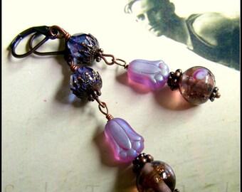Edwardian Style, Purple Czech Glass and Purple Crystal Earrings, Downton Abbey Earrings, Pretty in Purple Earrings, Czech Purple Art Glass