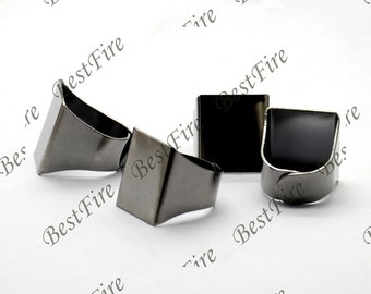20pcs Gunmetal plated Black Pad Open Adjustable RING square Base Cabochon Size:19x20mm,Ring base beads,blank Cabochon base,ring findings