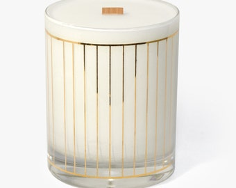 Soy Candle, Wood Wick in Vintage Culver Glass Tumbler