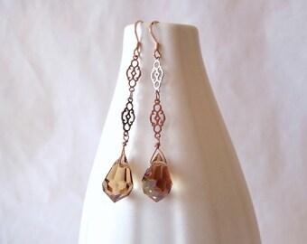 Rose gold earrings, rose gold filigree, handmade rose gold, rose gold jewelry