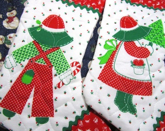SUNBONNET SUE and Overalls SAM Christmas Stocking made from Vintage Fabric Panel