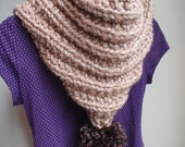 Tan and Sante Fe Brown Hooded Mitten Scarf with Pom Pom