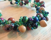 Mag Bracelet with Wood Beads Green and Blue Seed Beads and Green Wire