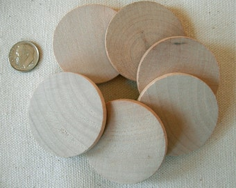 "40 WOOD Circle cutout Pieces 1"" 3/4"" x 3/16"" thick Unfinished, Wooden place cards,  Wedding tags, Gift tags, Prim, Folk, Rustic, Cottage"