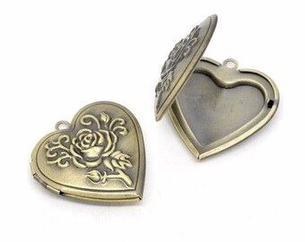 1pc Scent Locket essentuial oil diffuser necklace Antique Bronze Heart locket solid Perfume Locket aromatherapy pendant locket necklace 708x