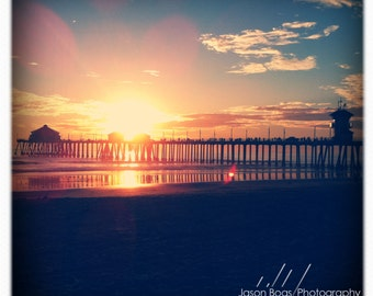 California Sunset over the HB Pier - Square Photo