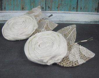 White hair pins for wedding - rustic wedding - bridal hair accessory - wedding accessories
