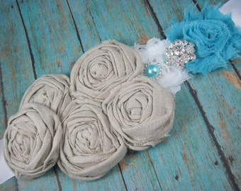 Wedding sale - bridal sash - robin egg blue - rustic - bride - wedding - maternity sash