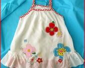 Baby white dress, Summer Dress for girls, Super soft white dress ( Size 18m.-24m. and 2-3T.) White frilly dress, red-white polka dots