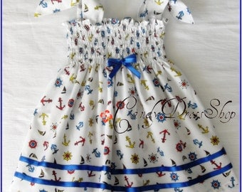 Sailors Printed Dress for baby girls, (Available in size 3 months to 3 years) Anchor patterned dress, Sailor baby dress, Baby beach dress