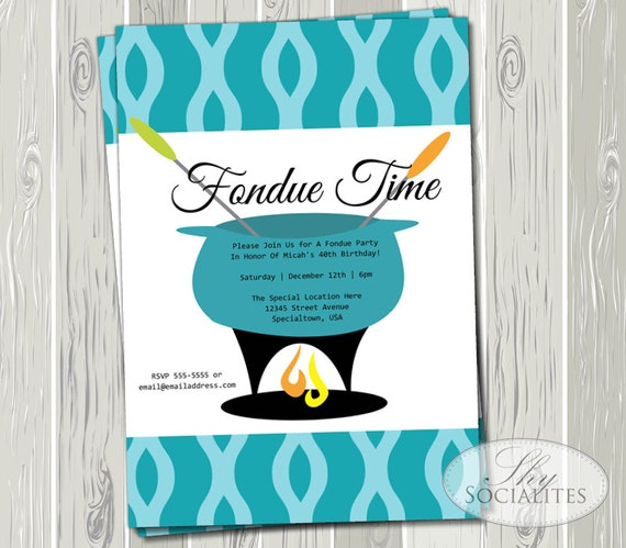 Fondue Party Printable Invitations Aqua Blue Teal Retro – Fondue Party Invitation Wording