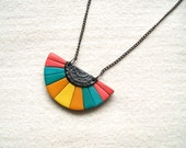 Bubblegum oriental fan necklace pink blue yellow bohemian Aztec inspired polymer clay pendant necklace