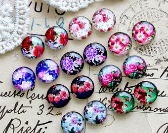 Sets of 18pcs 12mm Handmade Photo Mix Glass Cabochon -Image Glass Cabochon-(Flowers)-(HPGC-MIXSS-51)