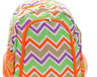 Personalized  Girls ORANGE CHEVRON Backpack    Multi Colored CHEVRON Bookbag