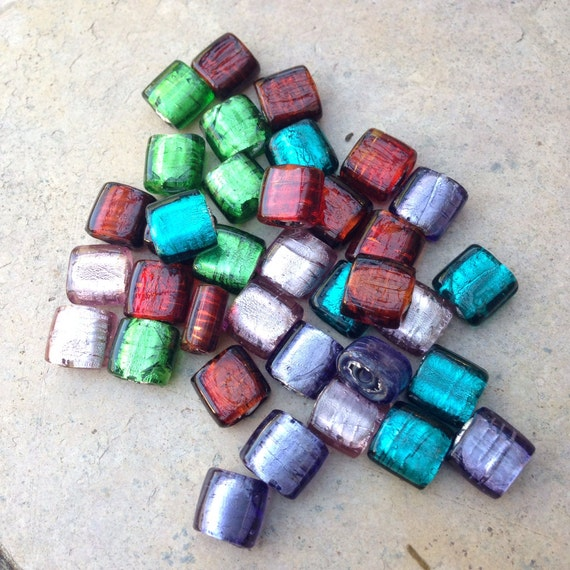 Silver foil lined glass beads square five color combination