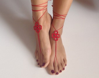 Barefoot Sandals, red, wedding, Bikini, Women, Beach, Bridal Shoes, Bridal Sandals, Bridal Jewelry, shoes, READY TO SHIP