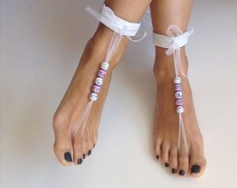 Barefoot Sandals, white,wedding,leather, Bikini, Women, Beach, shoes, sexy, READY TO SHIP,sibeldesign